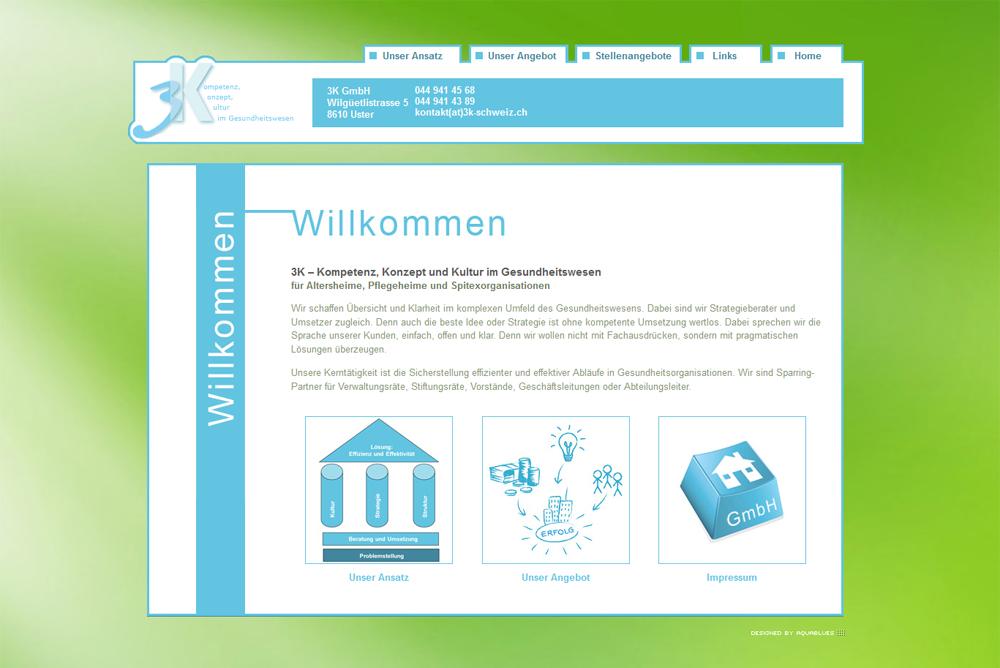 Website 3k Gmbh Schweiz Medienagentur Aquablues Dinhard